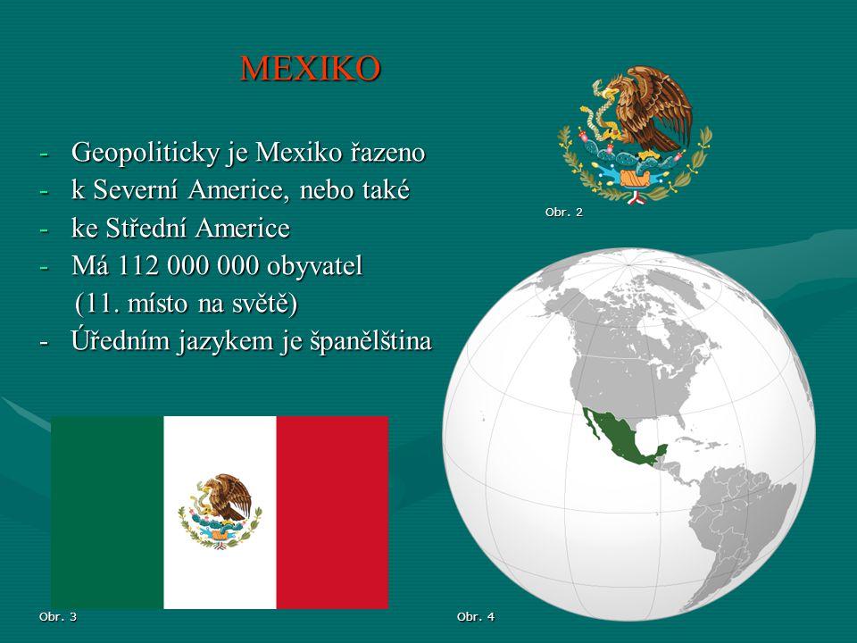 -rozloha: 1 964 375 km² ( 13 na světě) -Hlavní město: Ciudad de México -Vznik: 1810 (osamostatnění od Španělska) -Státní zřízení: republika -Měna: mexické peso MEXIKO – ZÁKLADNÍ CHARAKTERISTIKA Obr.