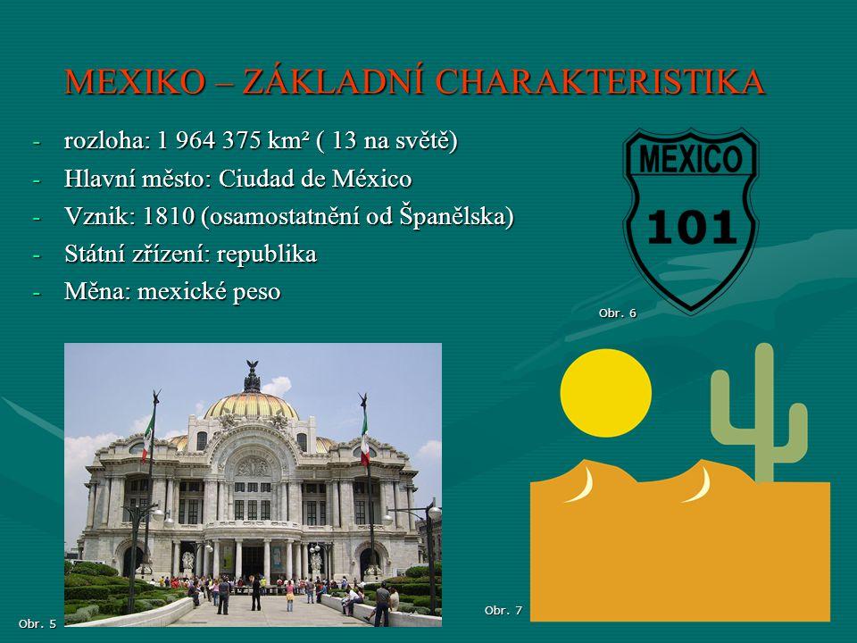 -rozloha: 1 964 375 km² ( 13 na světě) -Hlavní město: Ciudad de México -Vznik: 1810 (osamostatnění od Španělska) -Státní zřízení: republika -Měna: mex