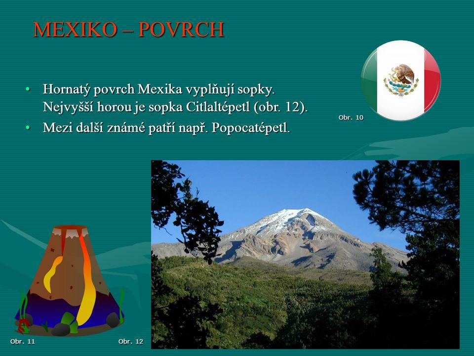 Obr. 12 Obr. 10 MEXIKO – POVRCH Obr. 11 Hornatý povrch Mexika vyplňují sopky. Nejvyšší horou je sopka Citlaltépetl (obr. 12).Hornatý povrch Mexika vyp