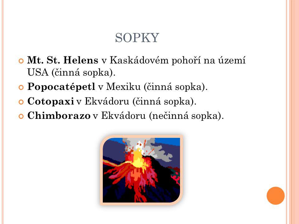 SOPKY Mt.St. Helens v Kaskádovém pohoří na území USA (činná sopka).