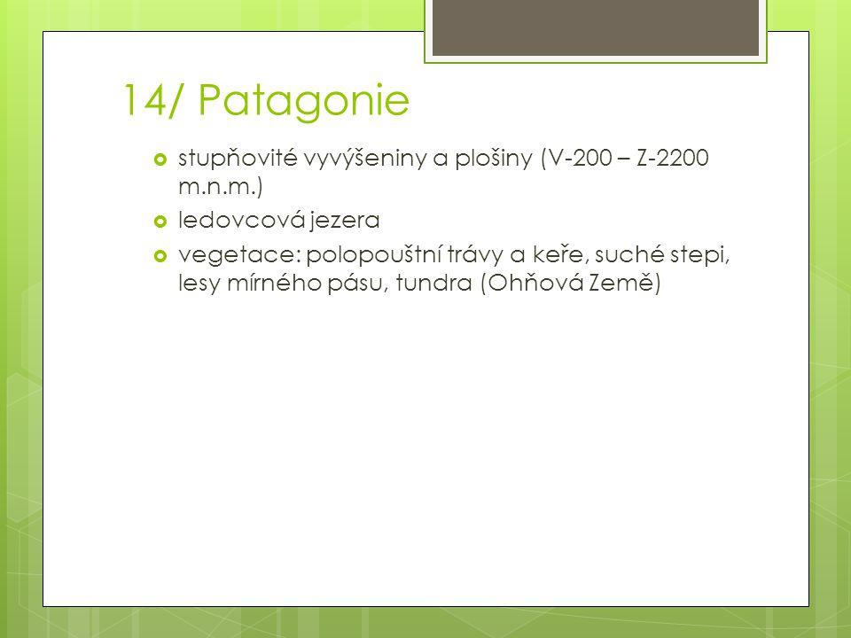 14/ Patagonie  stupňovité vyvýšeniny a plošiny (V-200 – Z-2200 m.n.m.)  ledovcová jezera  vegetace: polopouštní trávy a keře, suché stepi, lesy mír