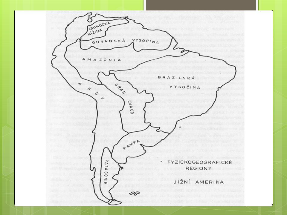 13/ Laplatská nížina Rozdělení: A/ na severu Gran Chaco B/ na jihu Pampas  mírně zvlněný reliéf, svažuje se od And k pobřeží  vegetace: savany, stepi (pampy: úrodné zem.oblasti)