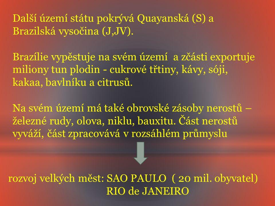 Další území státu pokrývá Quayanská (S) a Brazilská vysočina (J,JV).