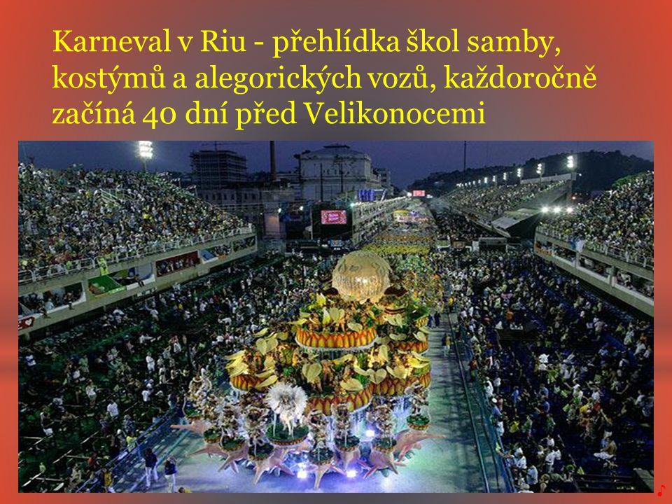 Karneval v Riu - přehlídka škol samby, kostýmů a alegorických vozů, každoročně začíná 40 dní před Velikonocemi ♪