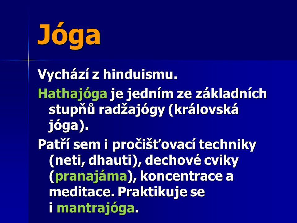 Jóga Vychází z hinduismu. Hathajóga je jedním ze základních stupňů radžajógy (královská jóga). Patří sem i pročišťovací techniky (neti, dhauti), decho
