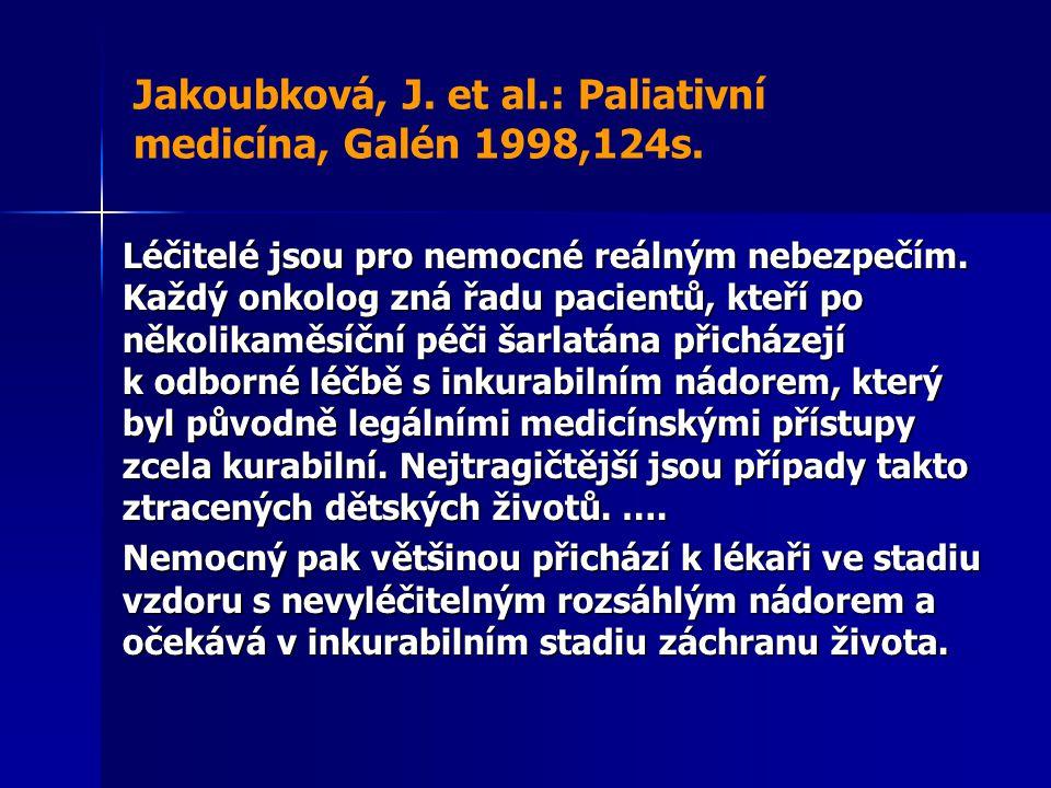 Jakoubková, J. et al.: Paliativní medicína, Galén 1998,124s. Léčitelé jsou pro nemocné reálným nebezpečím. Každý onkolog zná řadu pacientů, kteří po n