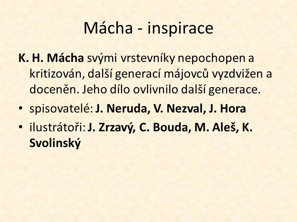 Mácha - inspirace K. H. Mácha svými vrstevníky nepochopen a kritizován, další generací májovců vyzdvižen a doceněn. Jeho dílo ovlivnilo další generace