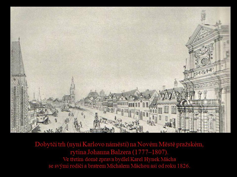 Dobytčí trh (nyní Karlovo náměstí) na Novém Městě pražském, rytina Johanna Balzera (1777–1807). Ve třetím domě zprava bydlel Karel Hynek Mácha se svým
