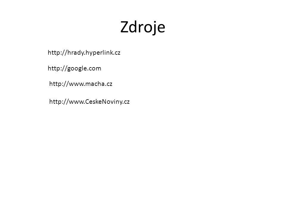 Zdroje http://hrady.hyperlink.cz http://google.com http://www.macha.cz http://www.CeskeNoviny.cz