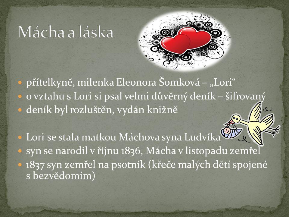 """přítelkyně, milenka Eleonora Šomková – """"Lori"""" o vztahu s Lori si psal velmi důvěrný deník – šifrovaný deník byl rozluštěn, vydán knižně Lori se stala"""