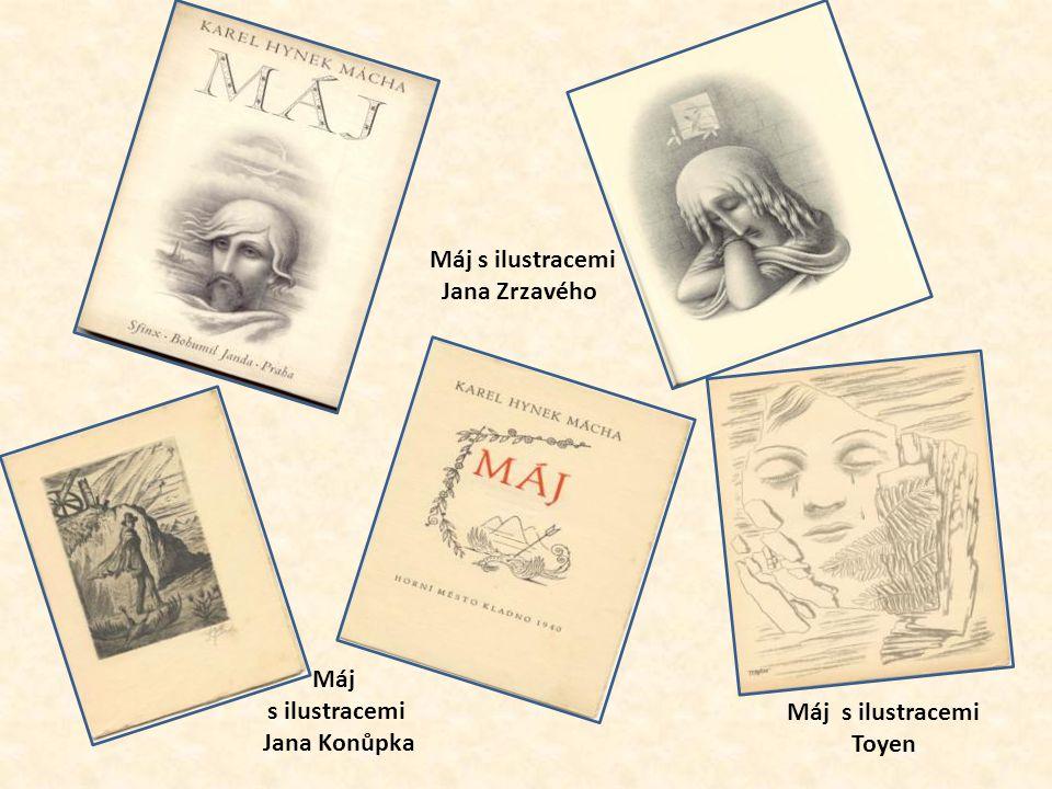 Různá vydání Máje s ilustracemi Cyrila Boudy z r. 1922 z r. 1923 z r. 1927