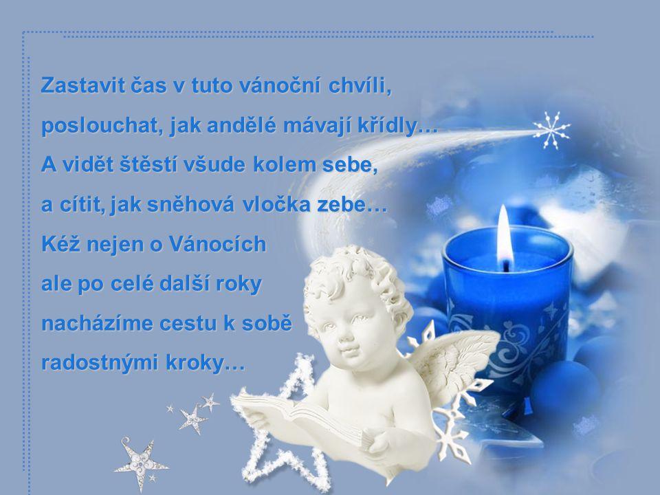 Zastavit čas v tuto vánoční chvíli, poslouchat, jak andělé mávají křídly… A vidět štěstí všude kolem sebe, a cítit, jak sněhová vločka zebe… Kéž nejen o Vánocích ale po celé další roky nacházíme cestu k sobě radostnými kroky…