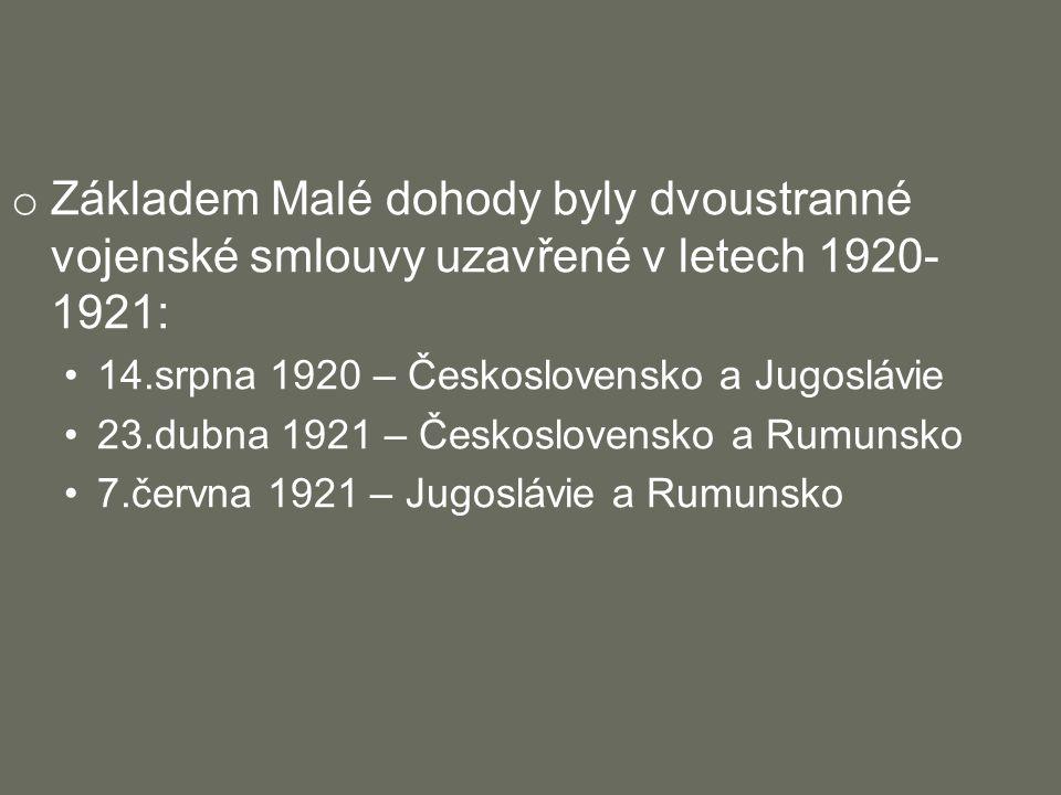 o Základem Malé dohody byly dvoustranné vojenské smlouvy uzavřené v letech 1920- 1921: 14.srpna 1920 – Československo a Jugoslávie 23.dubna 1921 – Československo a Rumunsko 7.června 1921 – Jugoslávie a Rumunsko