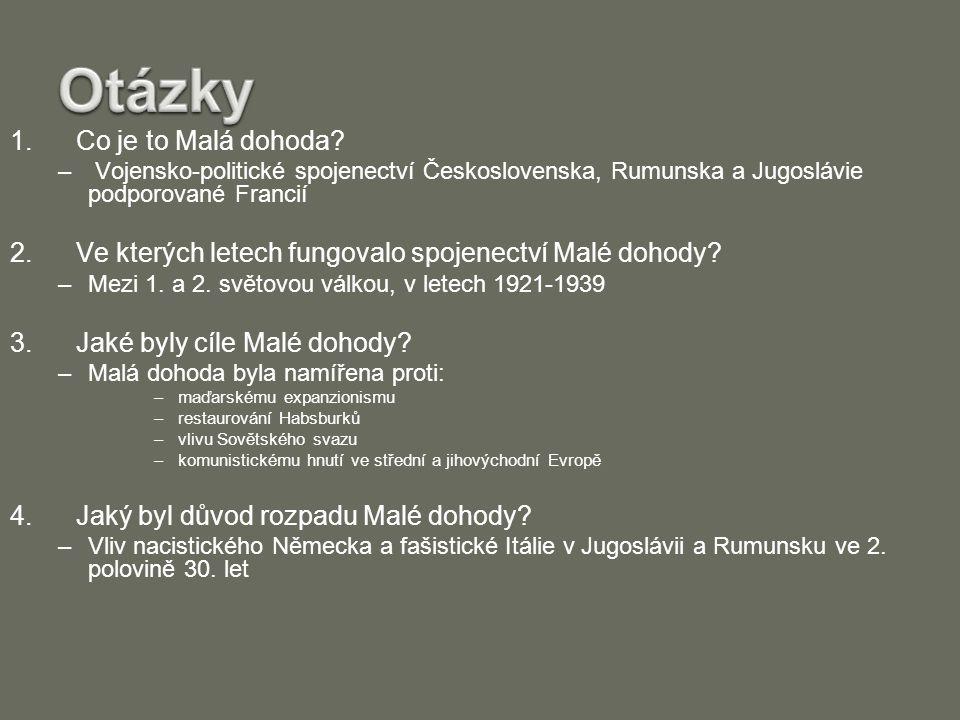 Zdroje –http://www.cojeco.cz/index.php?detail=1&id_desc =56191&title=Mal%E1%20dohoda&s_lang=2 –http://cs.wikipedia.org/wiki/Mal%C3%A1_dohoda –http://www.dohoda.info/mala-dohoda –O.Dorazil: Světové dějiny v kostce