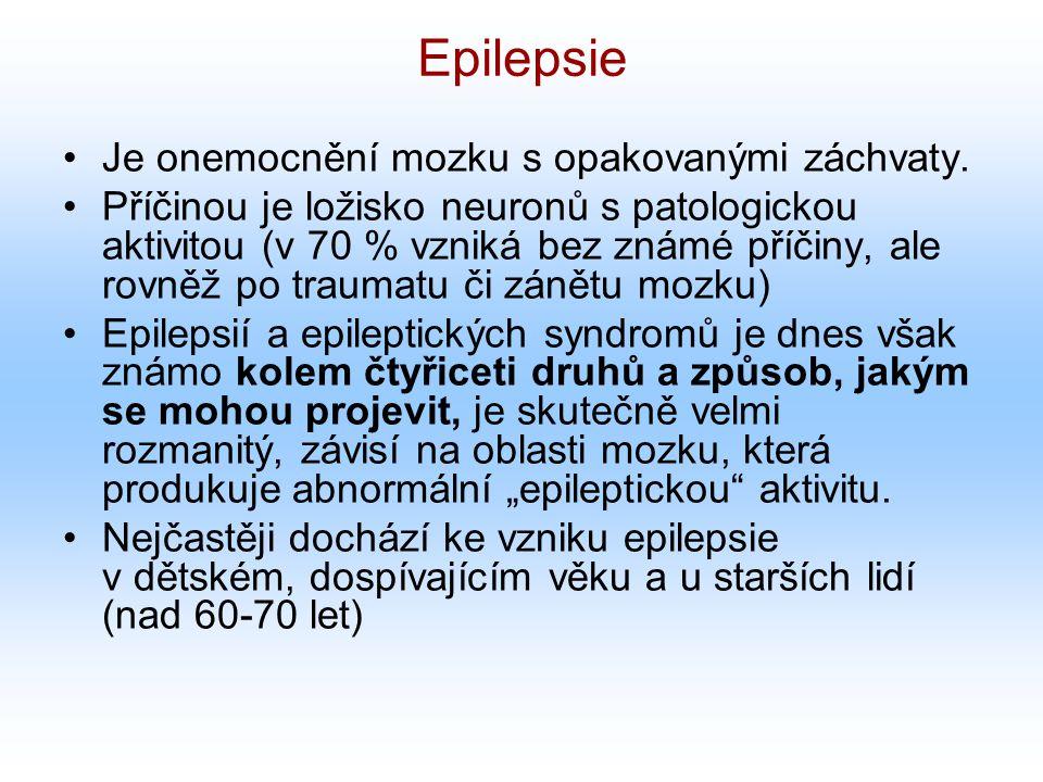 Epilepsie Je onemocnění mozku s opakovanými záchvaty. Příčinou je ložisko neuronů s patologickou aktivitou (v 70 % vzniká bez známé příčiny, ale rovně