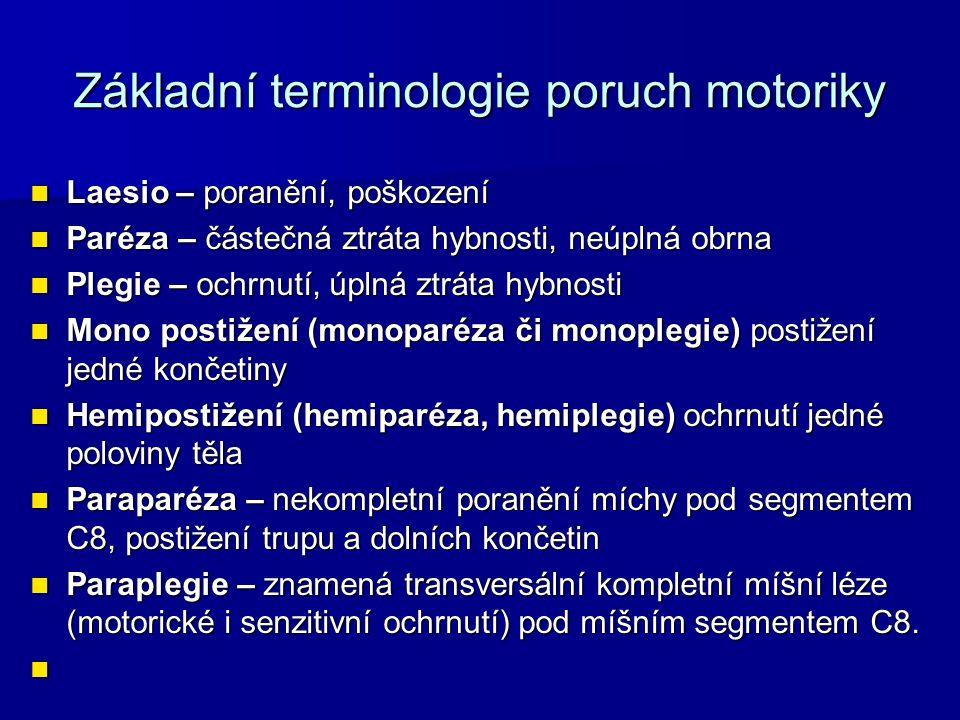 Základní terminologie poruch motoriky Laesio – poranění, poškození Laesio – poranění, poškození Paréza – částečná ztráta hybnosti, neúplná obrna Paréz