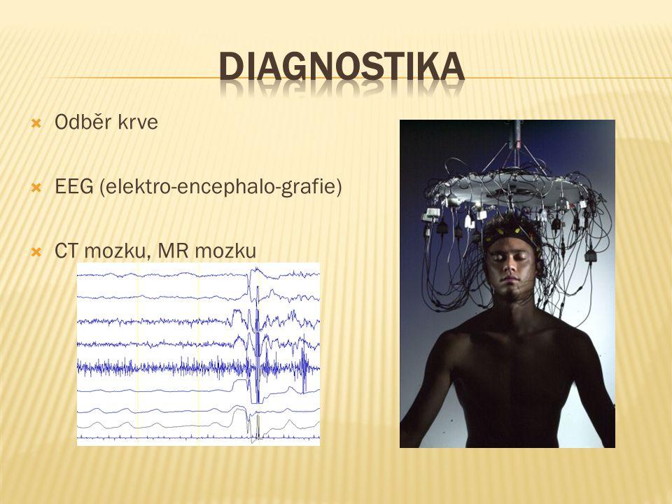  Odběr krve  EEG (elektro-encephalo-grafie)  CT mozku, MR mozku