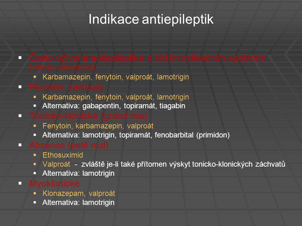 Indikace antiepileptik   Často úžívaná antiepileptika s širším indikačním spektrem (mimo absence):   Karbamazepin, fenytoin, valproát, lamotrigin