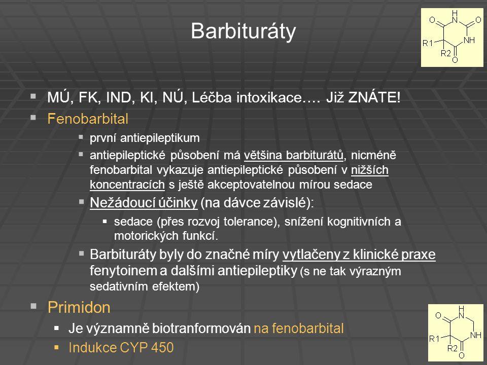 Barbituráty   MÚ, FK, IND, KI, NÚ, Léčba intoxikace…. Již ZNÁTE!   Fenobarbital   první antiepileptikum   antiepileptické působení má většina
