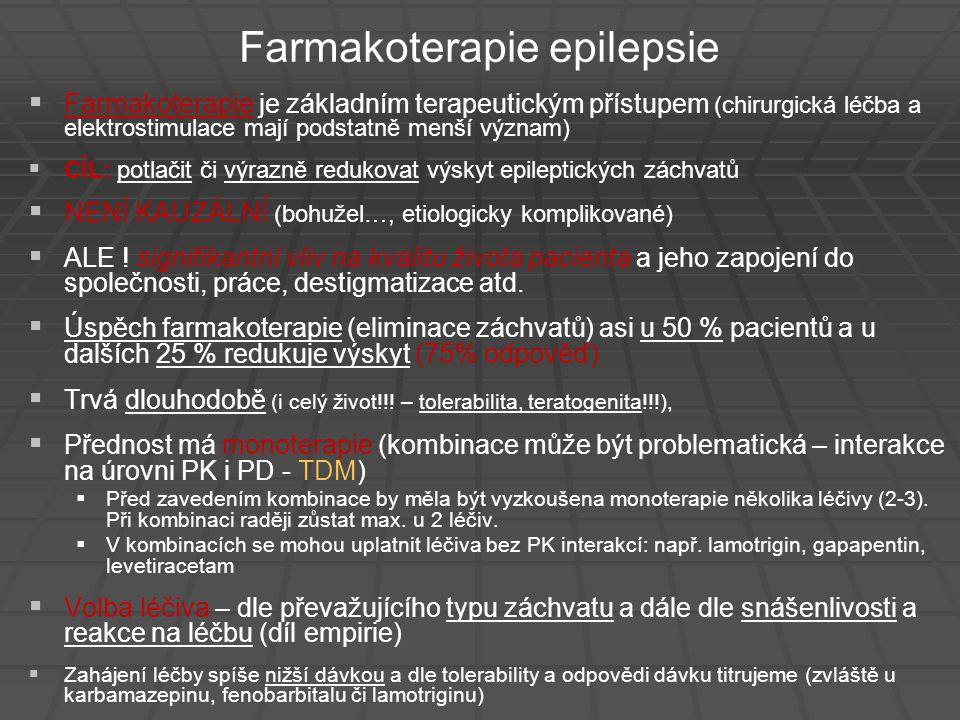 Farmakoterapie epilepsie   Farmakoterapie je základním terapeutickým přístupem (chirurgická léčba a elektrostimulace mají podstatně menší význam) 