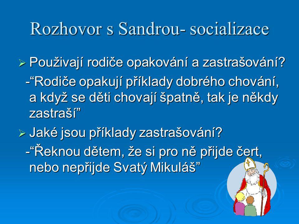 """Rozhovor s Sandrou- socializace  Použivají rodiče opakování a zastrašování? -""""Rodiče opakují příklady dobrého chování, a když se děti chovají špatně,"""