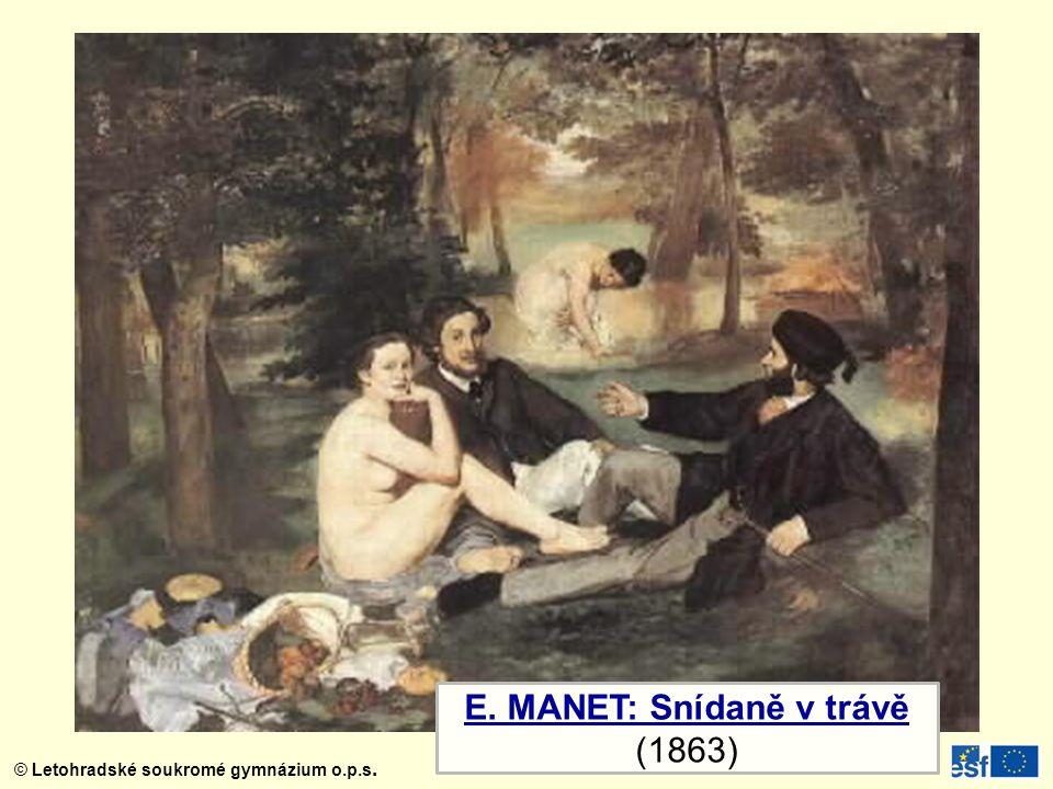 © Letohradské soukromé gymnázium o.p.s. C. MONET: Dojem: Východ Slunce (1874)