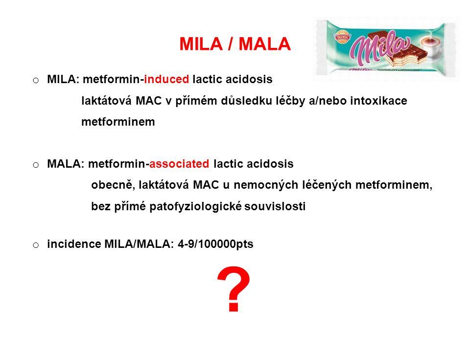 MILA / MALA o MILA: metformin-induced lactic acidosis laktátová MAC v přímém důsledku léčby a/nebo intoxikace metforminem o MALA: metformin-associated