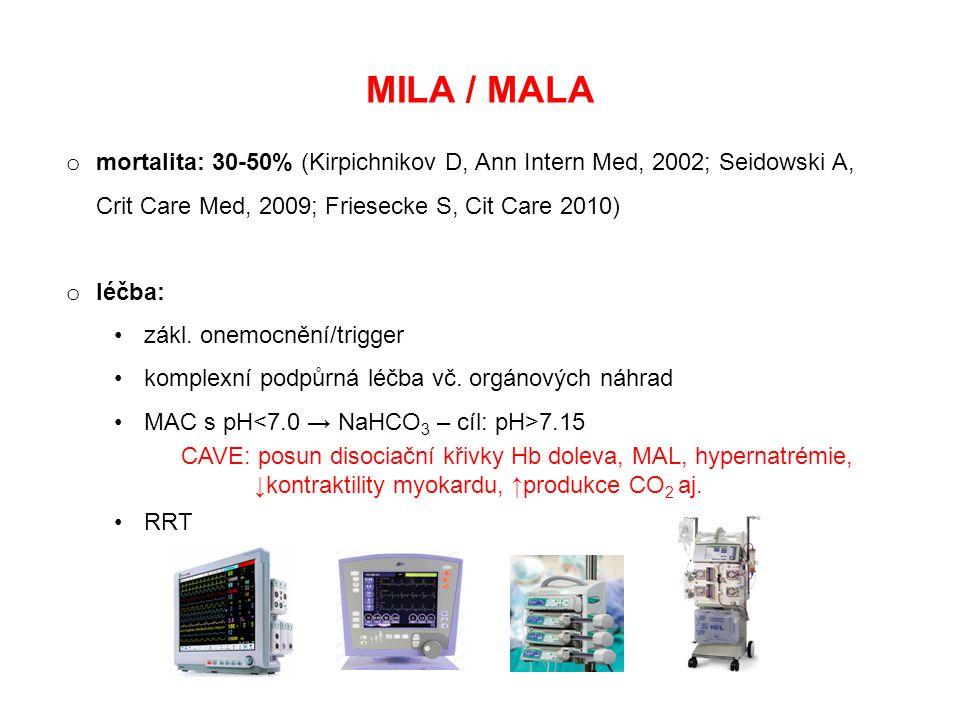 MILA / MALA o mortalita: 30-50% (Kirpichnikov D, Ann Intern Med, 2002; Seidowski A, Crit Care Med, 2009; Friesecke S, Cit Care 2010) o léčba: zákl. on