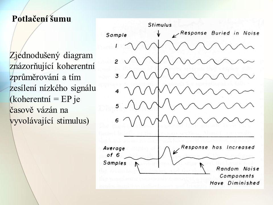 Zjednodušený diagram znázorňující koherentní zprůměrování a tím zesílení nízkého signálu (koherentní = EP je časově vázán na vyvolávající stimulus) Po