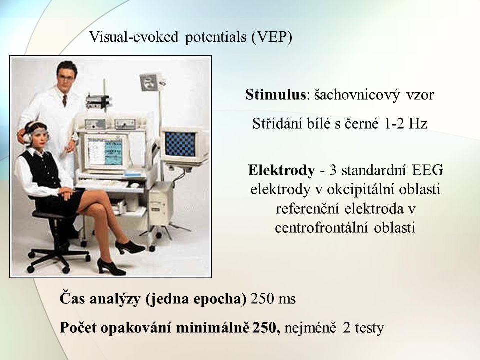 Visual-evoked potentials (VEP) Stimulus: šachovnicový vzor Střídání bílé s černé 1-2 Hz Elektrody - 3 standardní EEG elektrody v okcipitální oblasti r