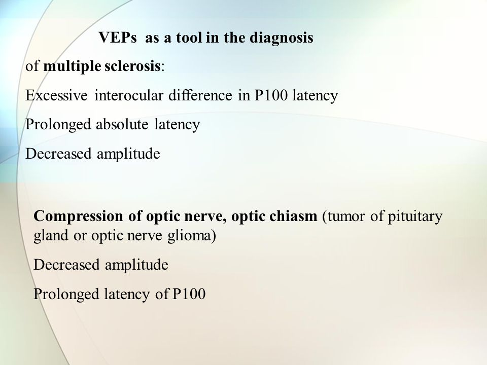 of multiple sclerosis: Excessive interocular difference in P100 latency Prolonged absolute latency Decreased amplitude Compression of optic nerve, optic chiasm (tumor of pituitary gland or optic nerve glioma) Decreased amplitude Prolonged latency of P100 VEPs as a tool in the diagnosis