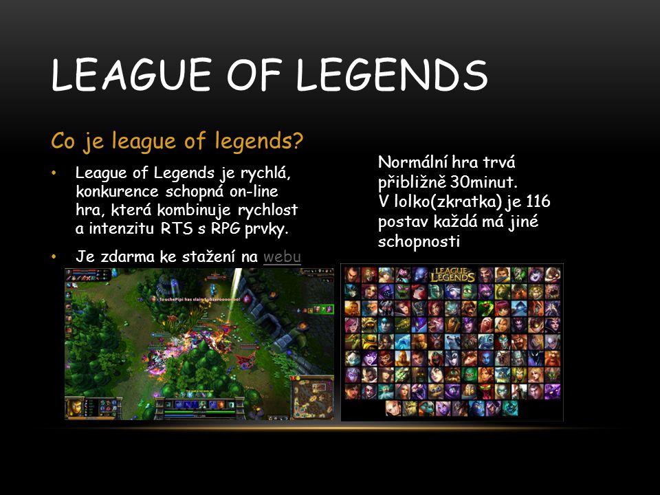 League of Legends je rychlá, konkurence schopná on-line hra, která kombinuje rychlost a intenzitu RTS s RPG prvky. Je zdarma ke stažení na webuwebu LE