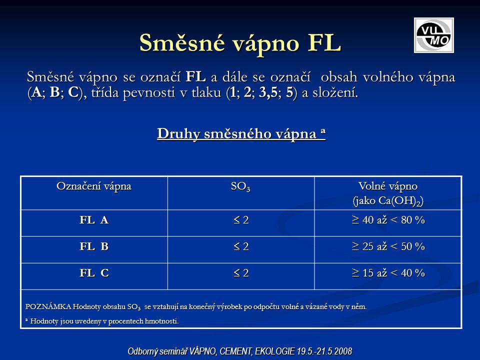 Směsné vápno FL Směsné vápno se označí FL a dále se označí obsah volného vápna (A; B; C), třída pevnosti v tlaku (1; 2; 3,5; 5) a složení. Druhy směsn