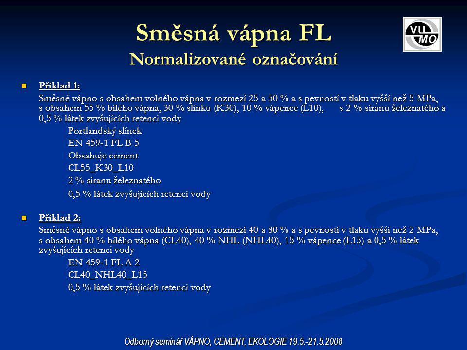 Směsná vápna FL Normalizované označování Příklad 1: Příklad 1: Směsné vápno s obsahem volného vápna v rozmezí 25 a 50 % a s pevností v tlaku vyšší než