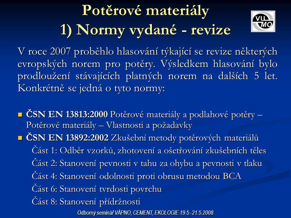 ČSN EN 13 815 Lité sádrové výrobky vyztužené vlákny ČSN EN 13 815 Lité sádrové výrobky vyztužené vlákny ČSN EN 15 319 Obecné zásady navrhování (sádrových) výrobků vyztužených vlákny pro vnitřní omítky ČSN EN 15 319 Obecné zásady navrhování (sádrových) výrobků vyztužených vlákny pro vnitřní omítky ČSN EN 15 318 Navrhování a provádění systémů ze sádrokartonových tvárnic ČSN EN 15 318 Navrhování a provádění systémů ze sádrokartonových tvárnic ČSN EN 13 915 Prefabrikované sádrokartonové panely s pórovitým kartónovým jádrem ČSN EN 13 915 Prefabrikované sádrokartonové panely s pórovitým kartónovým jádrem EN 15 283-1 Sádrové desky vyztužené vlákny – Část 1: Sádrové desky vyztužené rohoží EN 15 283-1 Sádrové desky vyztužené vlákny – Část 1: Sádrové desky vyztužené rohoží EN 15 283-2 Sádrové desky vyztužené vlákny – Část 2: Sádrovláknité desky EN 15 283-2 Sádrové desky vyztužené vlákny – Část 2: Sádrovláknité desky EN 14 353 Kovové profily a lišty pro upevnění sádrokartonových desek EN 14 353 Kovové profily a lišty pro upevnění sádrokartonových desek EN 14 566 Mechanické upevňovací prostředky pro sádrokartonové desky EN 14 566 Mechanické upevňovací prostředky pro sádrokartonové desky SÁDRA A VÝROBKY ZE SÁDRY 1) Normy vydané a schválené Odborný seminář VÁPNO, CEMENT, EKOLOGIE 19.5.-21.5.2008