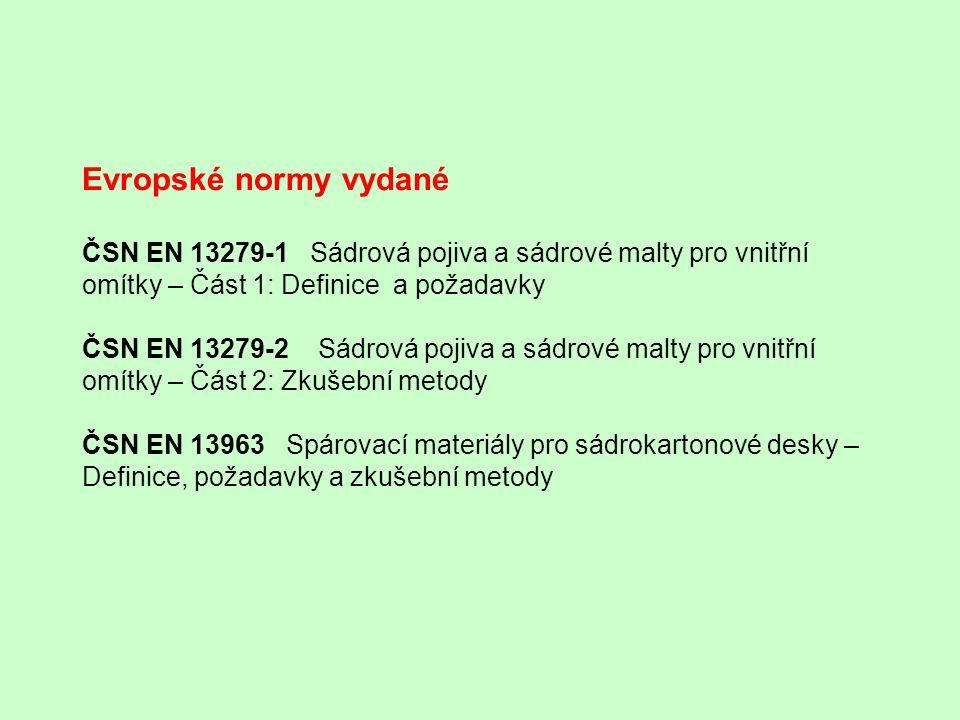 Evropské normy vydané ČSN EN 13279-1 Sádrová pojiva a sádrové malty pro vnitřní omítky – Část 1: Definice a požadavky ČSN EN 13279-2 Sádrová pojiva a sádrové malty pro vnitřní omítky – Část 2: Zkušební metody ČSN EN 13963 Spárovací materiály pro sádrokartonové desky – Definice, požadavky a zkušební metody