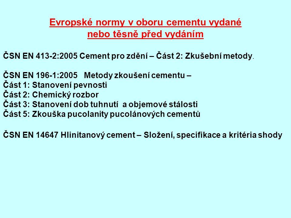 Evropské normy v oboru cementu vydané nebo těsně před vydáním ČSN EN 413-2:2005 Cement pro zdění – Část 2: Zkušební metody.