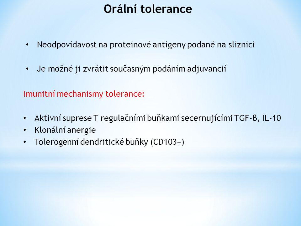 Orální tolerance Neodpovídavost na proteinové antigeny podané na sliznici Je možné ji zvrátit současným podáním adjuvancií Imunitní mechanismy tolerance: Aktivní suprese T regulačními buňkami secernujícími TGF-β, IL-10 Klonální anergie Tolerogenní dendritické buňky (CD103+)
