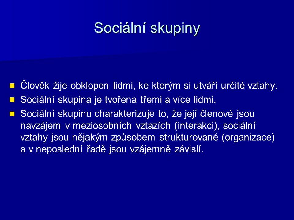 Sociální skupiny Člověk žije obklopen lidmi, ke kterým si utváří určité vztahy.