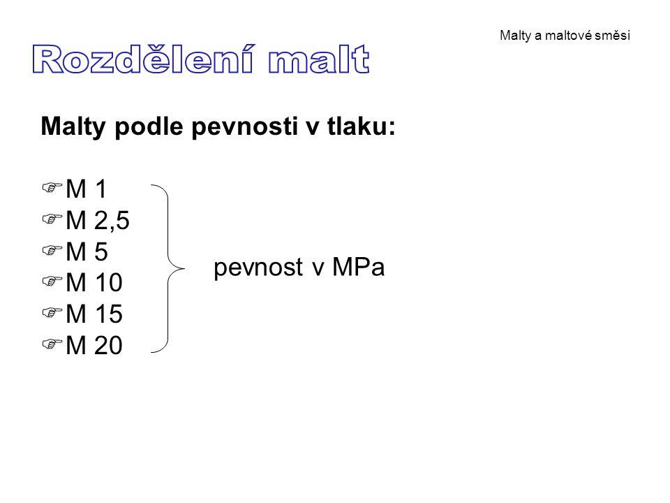 Malty a maltové směsi Malty podle pevnosti v tlaku:  M 1  M 2,5  M 5  M 10  M 15  M 20 pevnost v MPa