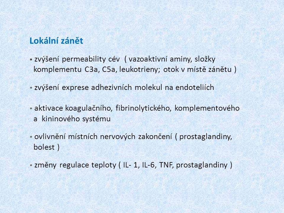 Lokální zánět * zvýšení permeability cév ( vazoaktivní aminy, složky komplementu C3a, C5a, leukotrieny; otok v místě zánětu ) * zvýšení exprese adhezi