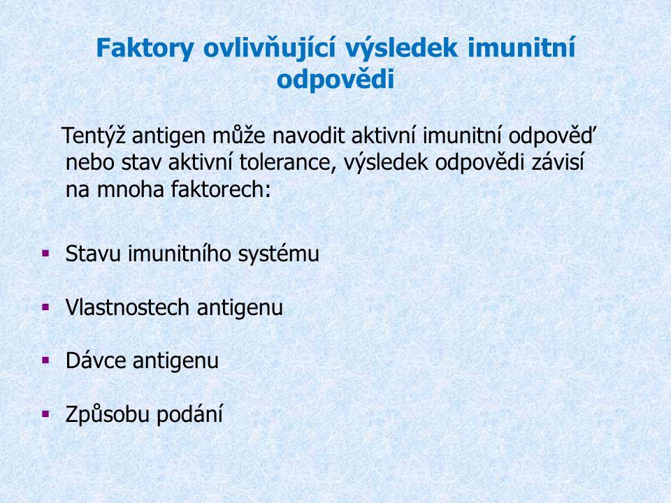 Faktory ovlivňující výsledek imunitní odpovědi Tentýž antigen může navodit aktivní imunitní odpověď nebo stav aktivní tolerance, výsledek odpovědi záv