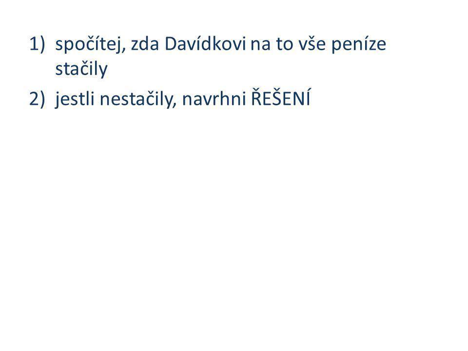 1)spočítej, zda Davídkovi na to vše peníze stačily 2)jestli nestačily, navrhni ŘEŠENÍ