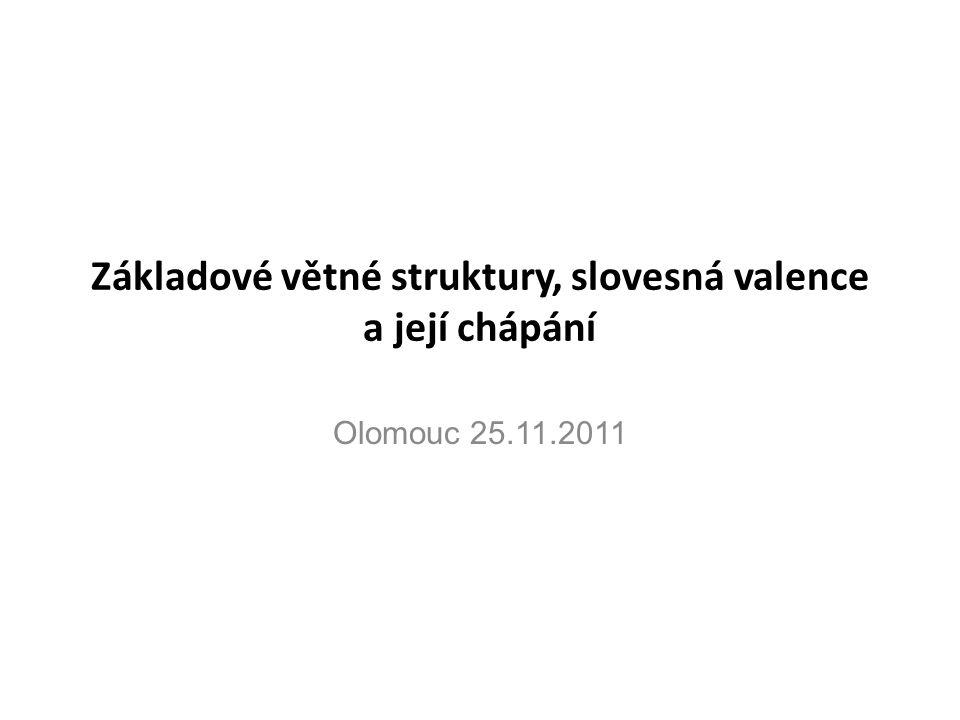 Základové větné struktury, slovesná valence a její chápání Olomouc 25.11.2011