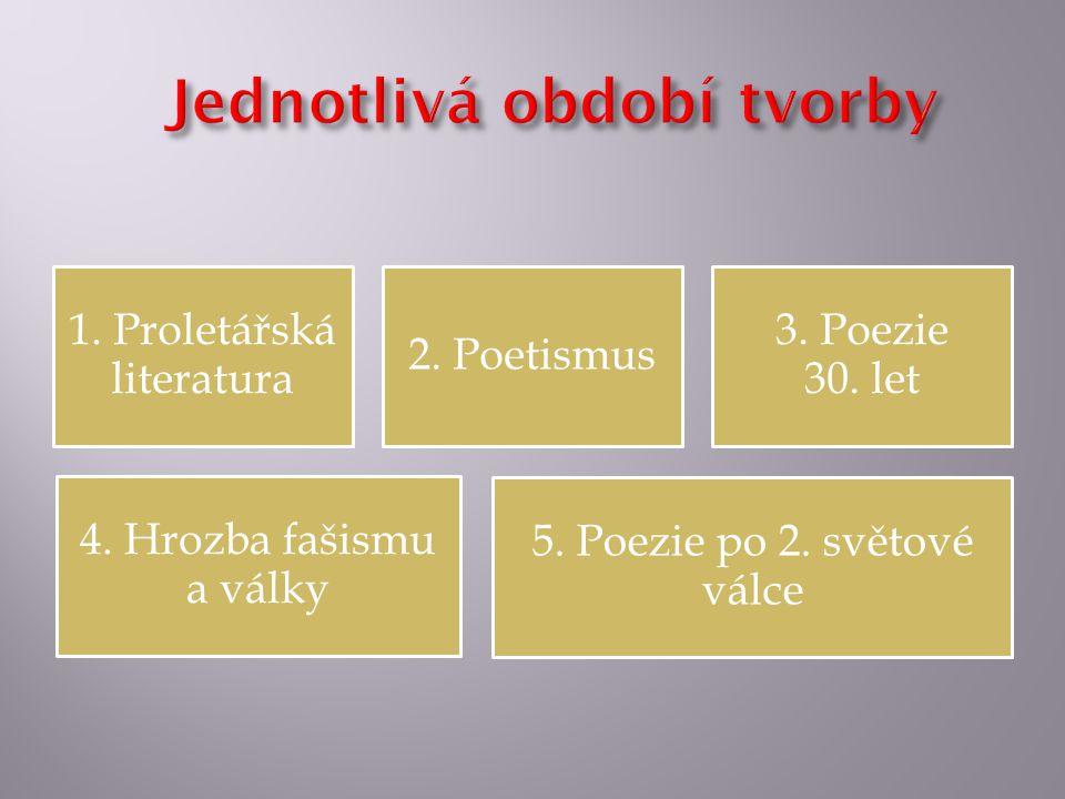 1. Proletářská literatura 2. Poetismus 3. Poezie 30. let 4. Hrozba fašismu a války 5. Poezie po 2. světové válce