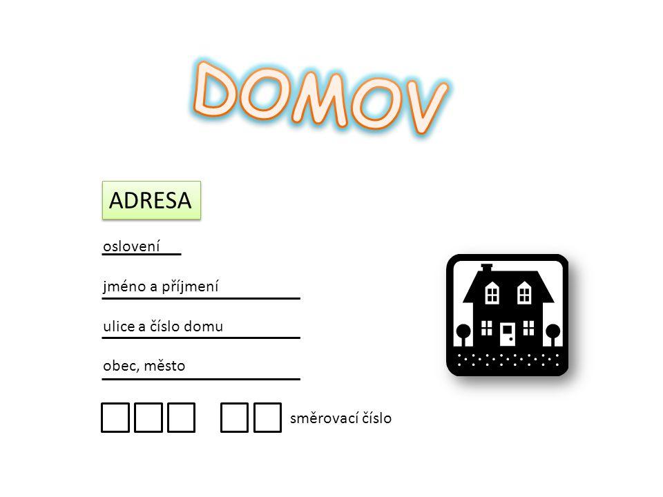 ADRESA oslovení jméno a příjmení ulice a číslo domu obec, město směrovací číslo