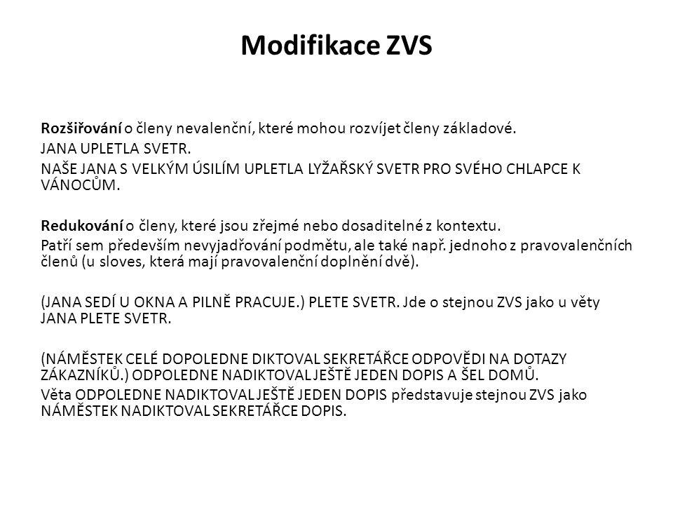 Modifikace ZVS Členy, které nejsou vyjádřeny, nadále v ZVS fungují.