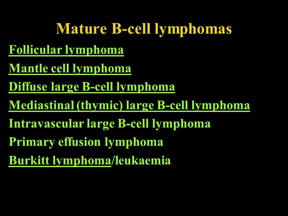 Mature B-cell lymphomas Follicular lymphoma Mantle cell lymphoma Diffuse large B-cell lymphoma Mediastinal (thymic) large B-cell lymphoma Intravascula