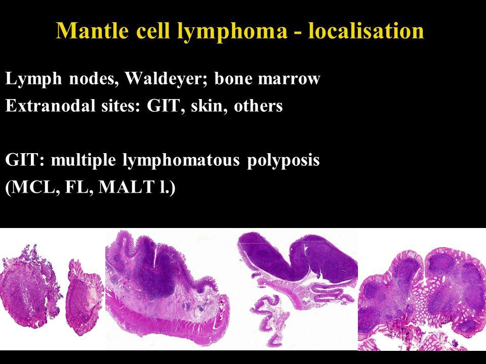 Mantle cell lymphoma - localisation Lymph nodes, Waldeyer; bone marrow Extranodal sites: GIT, skin, others GIT: multiple lymphomatous polyposis (MCL,