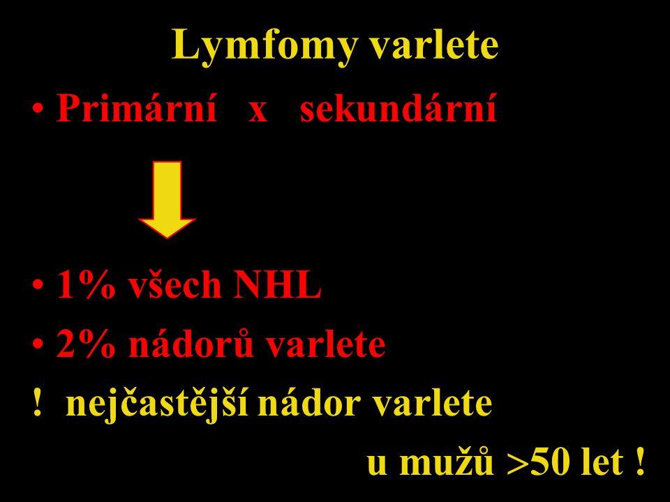 Lymfomy varlete Primární x sekundární 1% všech NHL 2% nádorů varlete ! nejčastější nádor varlete u mužů  50 let !